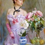 Table with flowers. Painting by Russian artist Konstantin Razumov
