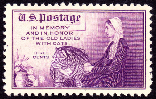 Fat cat Zarathustra in a postage stamp, issued in USA in 1934