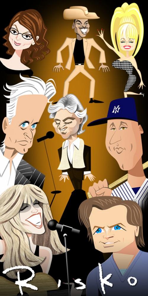Caricatures of celebrities by American artist Robert Risko
