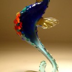 A seahorse. Fused and kiln-formed glass sculpture of fish