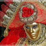Gold and pink. Venice Carnival, modern Mardi Gras