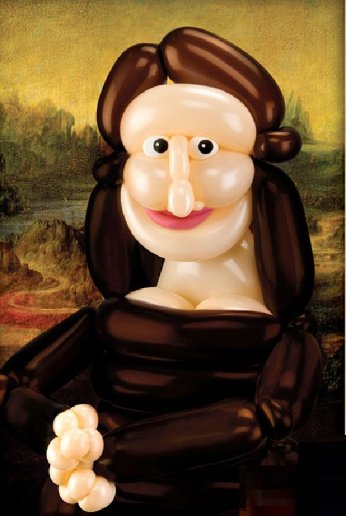 Mona Lisa. Balloons copy of famous painting by American balloon artist Larry Moss