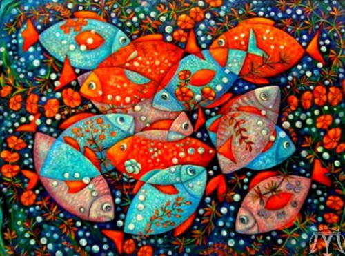 round dance. Painting by Russian artist Marina Hintse