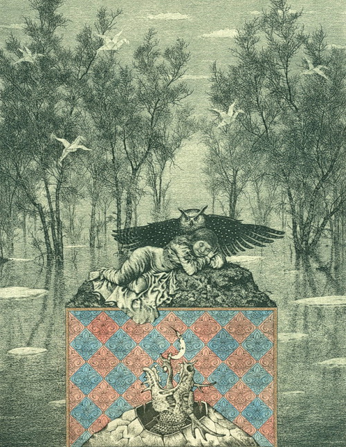 Bestiary of the Apocalypse (spring). Etching, drypoint, mezzo Tinto