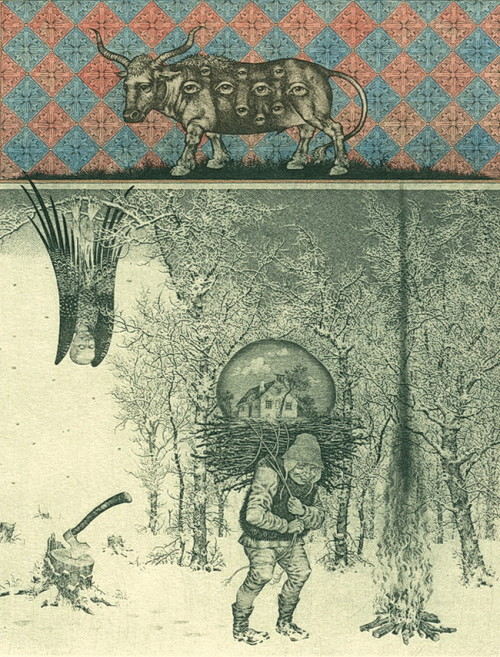 Bestiary of the Apocalypse (winter). Etching, drypoint, mezzo Tinto