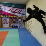 Training in the gym, Iranian woman Ninja