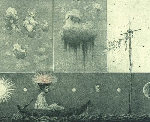 Museum clouds. Etching, mezzo tinto, drypoint