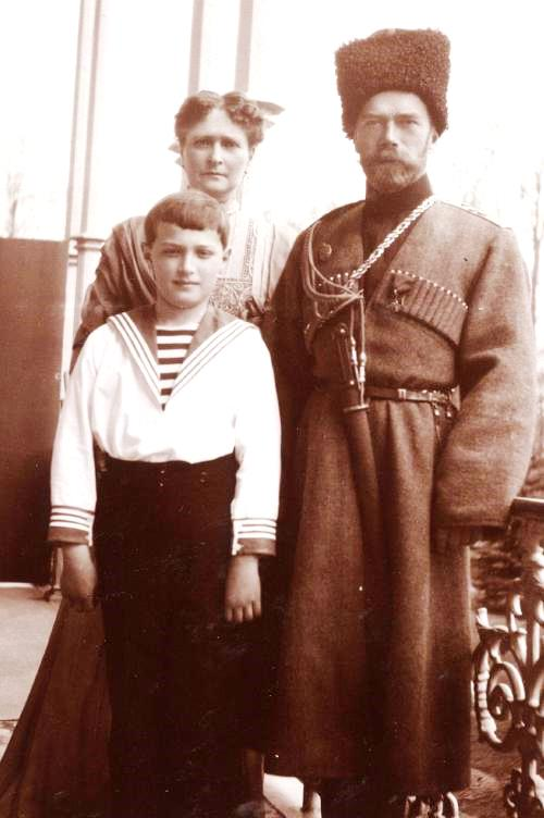 Nicholas II with his wife Alexandra, and their son Prince Alexei