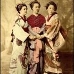Retro photo of Japanese entertainers, Geisha