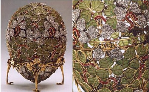 The eggs are made of precious metals or hard stones decorated with combinations of enamel and gem stones. The Faberge egg has become a symbol of luxury, and the eggs are regarded as masterpieces of the jewelers art.