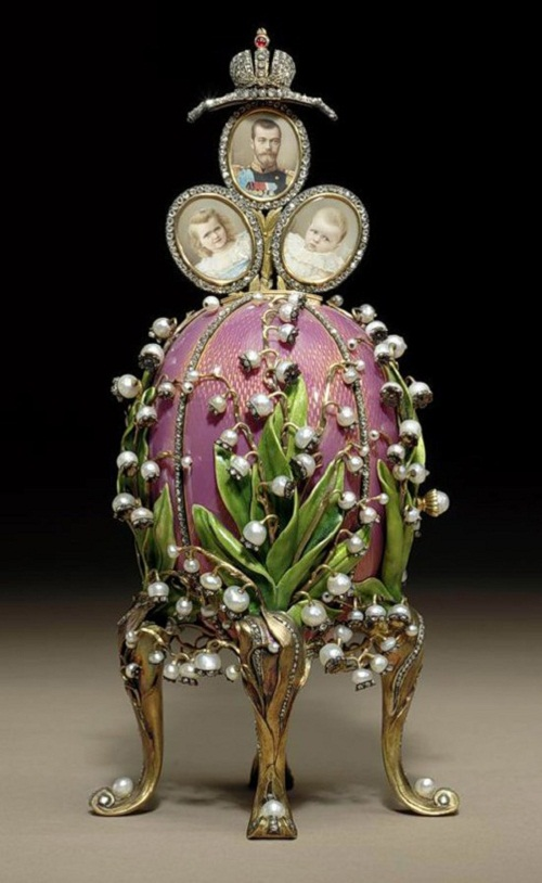 """Lilies of the Valley."" Retractable up three medallions with portraits of the emperor and his two older daughters Olga and Tatiana. Master Michael Perkhin. Nouveau style. Arguably, the most favorite egg of the Empress."