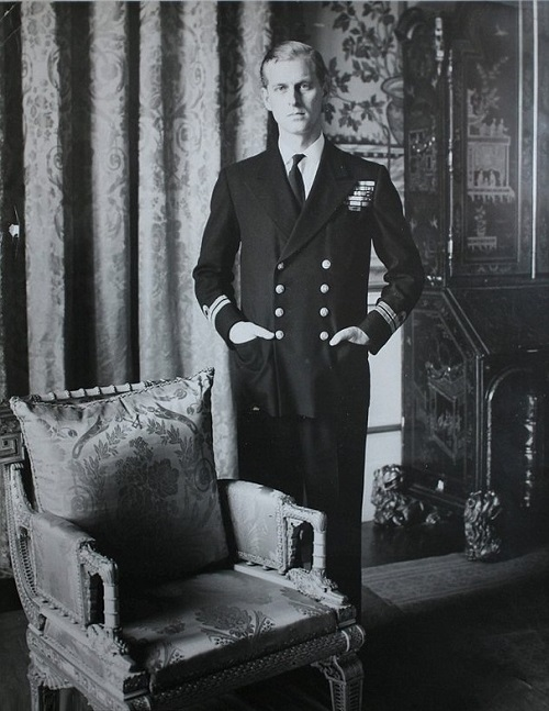 Prince Phillip strikes a serious pose in one of the 1952 photographs