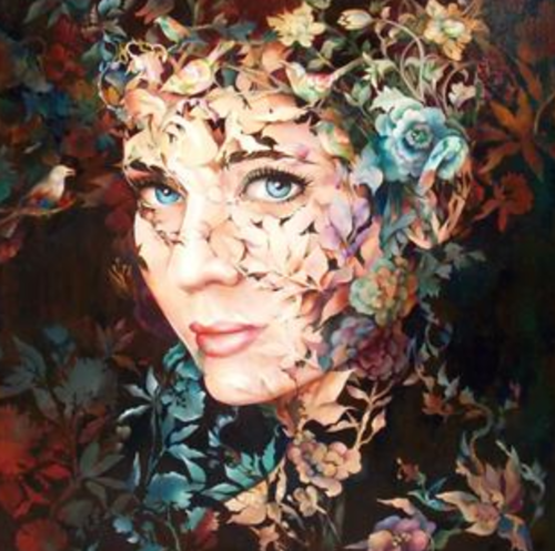Female portraits in textured paintings by Chinese artist Wendy Ng