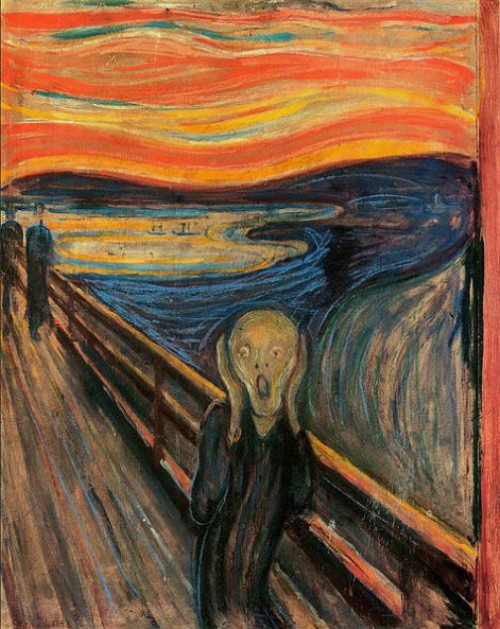 The Scream is a series of Expressionist paintings and prints created by Norwegian artist Edvard Munch between 1893 and 1910, showing an agonized figure against a red sky