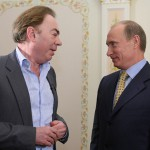 Lloyd Webber and Russian President Vladimir Putin prior to the 2009 Eurovision Song Contest held in Moscow