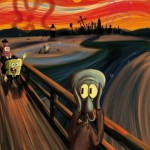 The scream by Edvard Munch but with Spongebob, Patrick and Squidward