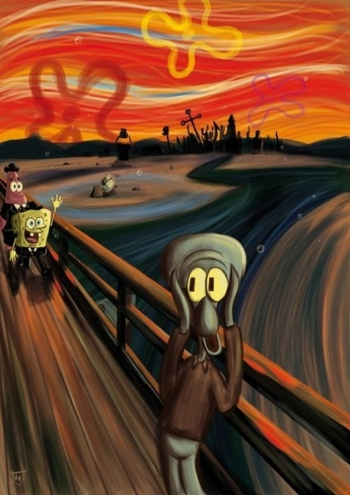 The scream by Edvard Munch but with Sponge-bob, Patrick and Squid-ward