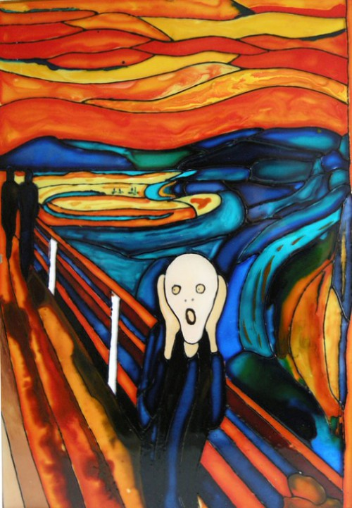 The scream made from stained glass