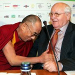 Rome, December 15, 2007. Dalai Lama jokes with Mikail Gorbachev during the Summit of the Nobel Peace Prize Laureates closing ceremony at the Protomoteca Hall.