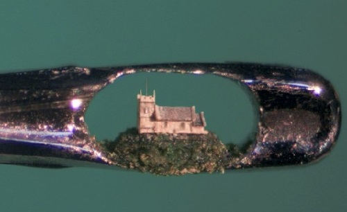 A sculptor has proven you really can see the world in a grain of sand - after carving this incredible church from one tiny granule stuck in the head of a needle