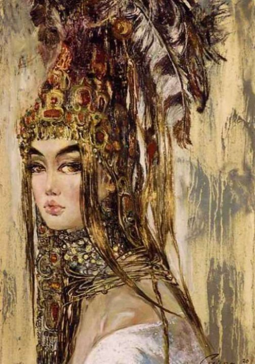 Altyn, the beauty. Painting by Uzbek artist Saira Keltaeva