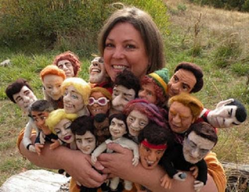 Needle felted celebrities by American artist Kay Petal