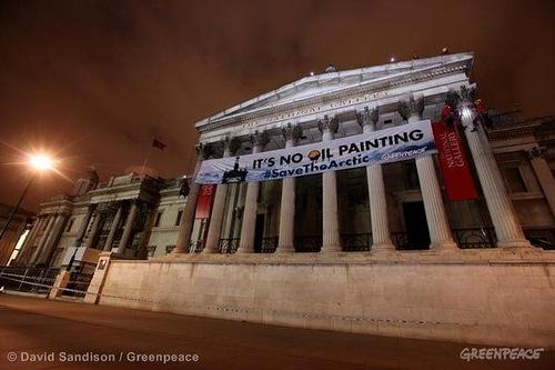 Greenpeace is 40. Arctic Oil Protest in Trafalgar Square UK