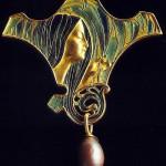 Gold tone, enamel, pearl pendant. Art Nouveau