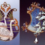 "Beautiful pendants - Swans on the lake (left) and ""Fir-trees"". Paris, 1900-1902 Gold, enamel, glass"