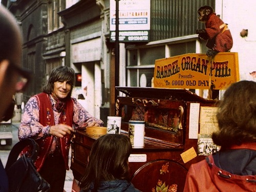 Barrel Organ player, with monkey, Liverpool 1975
