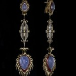Long earrings of gold and natural stones. Beautiful jewelry art by Armenian artist-jeweler Vaagn Mkrtchyan