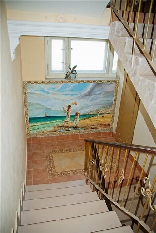 Beautiful staircase in a 9-storey building, painted by artist Konstantin Nikolaev. Rostov-on Don, Russia