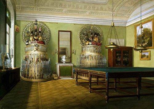Billiard Room of Emperor Alexander II. Hermitage. Artist Eduard Hau