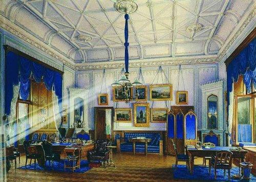 Blue cabinet of Alexander II. Watercolor on paper. Hermitage. Artist Eduard Hau