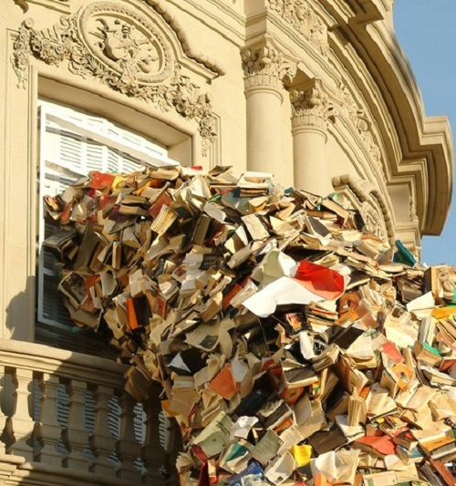 Book Towers installation by Spanish based artist Alicia Martin