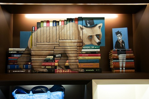 Book installation for the opening of the flagship store in Hong Kong by American artist Mike Stilkey