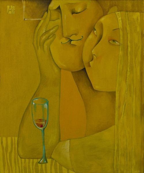 Boredom. Painting by Akzhana Abdaliyeva, talented young artist from Kazakhstan