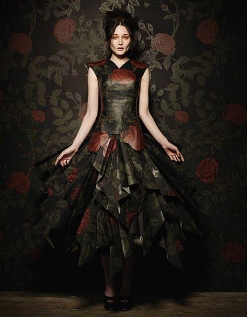 Botanical wallpaper dress by British stylist Damian Foxe