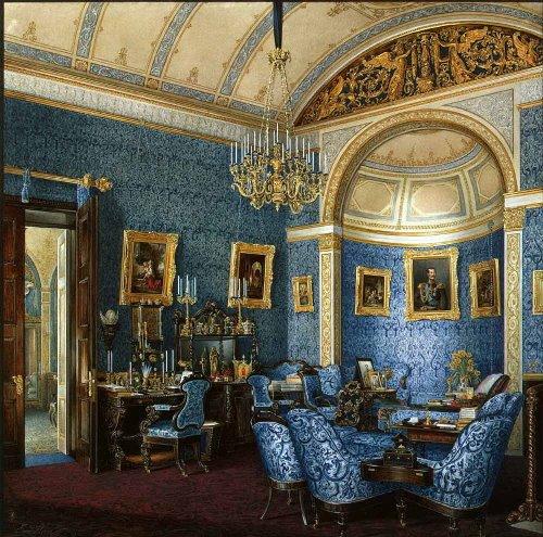 Boudoir of Grand Duchess Maria Alexandrovna. Hermitage. Artist Eduard Hau