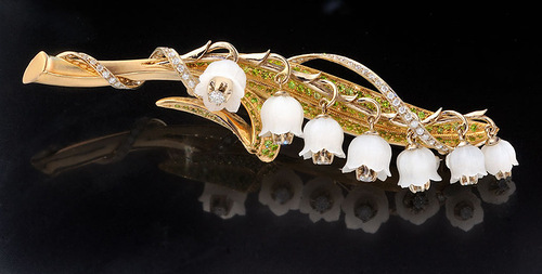 """Brooch of gold with diamonds and cacholong. Beautiful jewelry by St. Petersburg true style """"Catherine Kostrigina"""""""