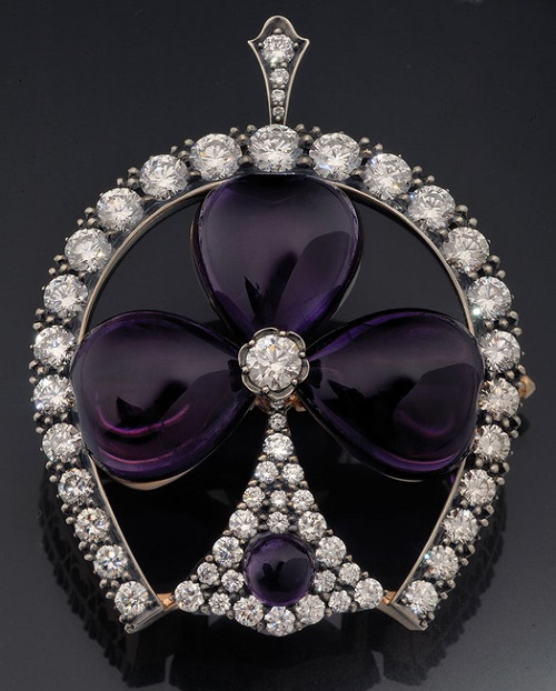 """Brooch-pendant of gold and silver with amethyst and diamonds. Beautiful jewelry by St. Petersburg true style """"Catherine Kostrigina"""""""