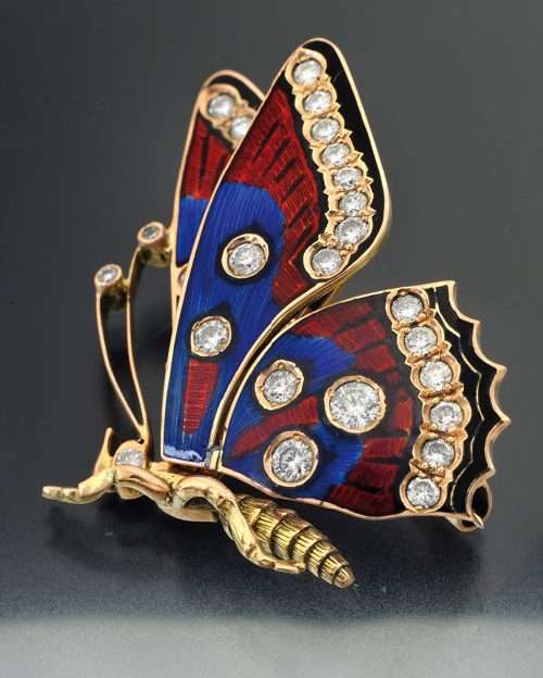 Butterfly brooch of gold with enamel and diamonds