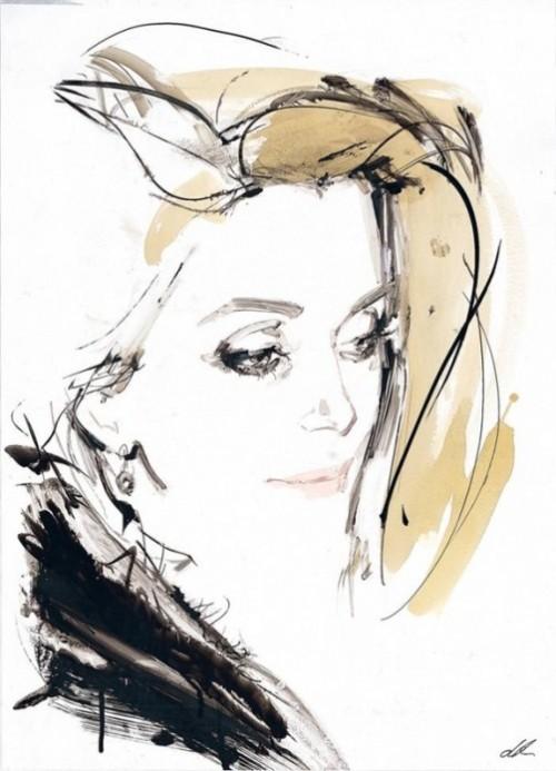 Catherine Deneuve. Fashion illustration by British artist David Downton