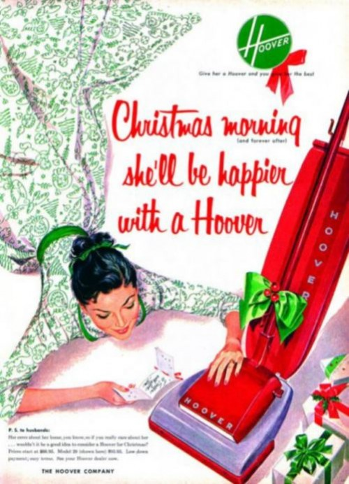 Christmas morning with a hoover. Vintage adverts that would never be allowed today
