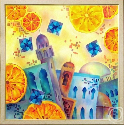 Cocktail with Moroccan oranges. Painting on silk by Russian self-taught artist Victoria Strelets