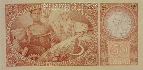 Czechoslovakia, 50 korun, 1929. Designed by Alfons Mucha, engraved by Karel Wolf. Collection of Vsevolod Onyshkevych