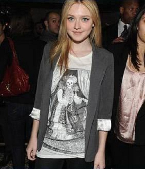 Dakota Fanning wearing a Lipton Tee at a film premiere after-party