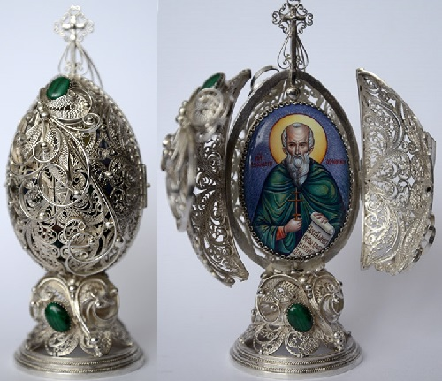 Decorative Silver Easter egg, Athanasius of Athos
