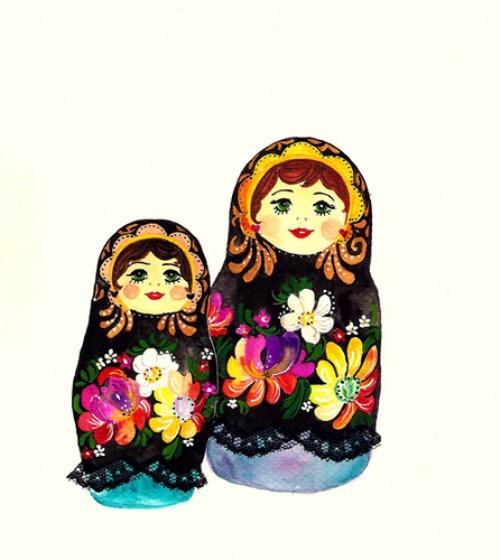 Russian matryoshka dolls. Drawings by Daniela Dahf Henríquez