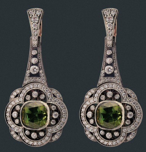 """Earrings of gold and silver with diamonds and tourmalines. Beautiful jewelry by St. Petersburg true style """"Catherine Kostrigina"""""""